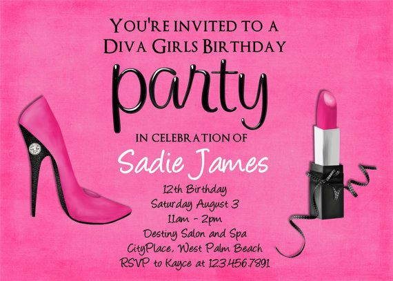 Pink Diva Party Decorations | Hot Pink Diva Birthday Invitation - Custom and Printable Invite by 3 ...