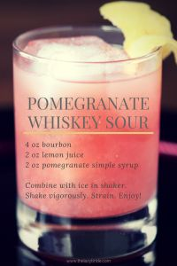 A sophisticated wedding cocktail - the Pomegranate Whiskey Sour. www.thelazybride.com