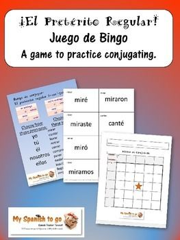 This is great practice for conjugating the regular preterite! Students practice writing the conjugation by filling in their own bingo boards. They practice listening to the sound of the conjugation while the teacher (or other student volunteer) calls out the conjugation.
