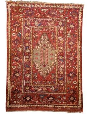 MELAS PRAYER RUG  WEST ANATOLIA, DATED AH 1290/1873 AD    5ft.3in. x 3ft.11in. (160cm. x 119cm.)  I Christie's Sale 7219