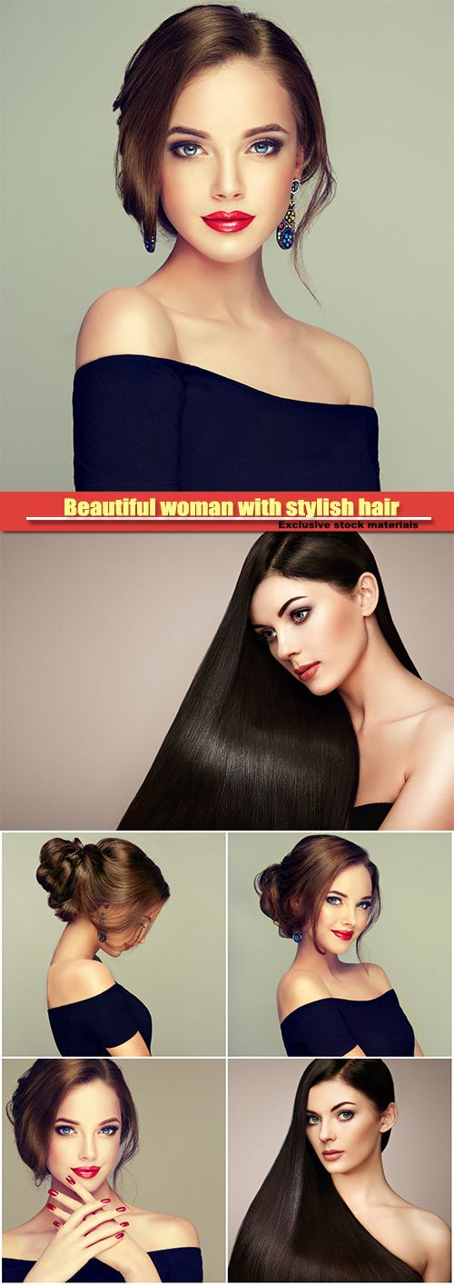 Beautiful woman with stylish hair and bright make-up