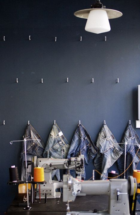 Nudie Jeans denim brand store,  London designed by Maria Erixon Levin :: fitted out as a repair station to mend old jeans