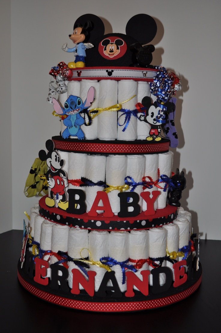 Another Disney diaper cake for Baby Hernandez.  Again, all the characters are hand drawn and painted by me :)