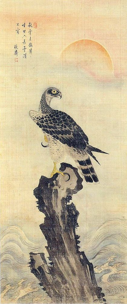 (Korea) Hawk by Geungjae Kim Deuk-sin (1754-1822). ca 18th century CE. color on paper.