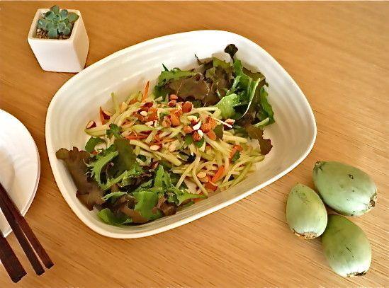 【摘果メロンのサラダ☆ソムタム】タイ料理でおなじみ「青パパイヤのサラダ」ならぬ摘果メロンのサラダ「ソムタム(ส้มตำ)」が、意外に評判、我が家の定番メニューに決定。