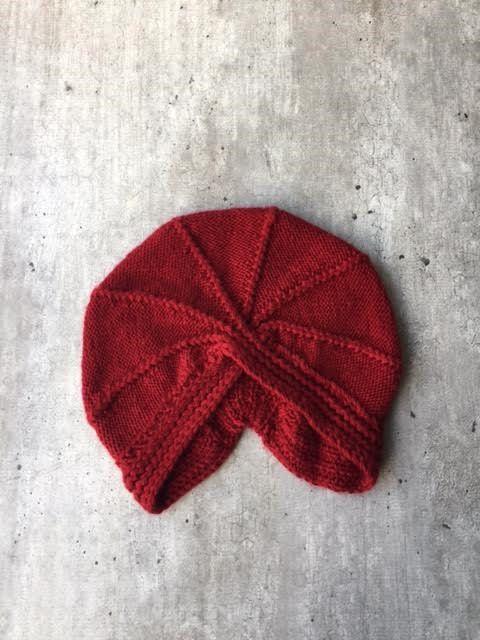 Turban Hat Turban Knit Hat Red Turban  Vintage by woolpleasure