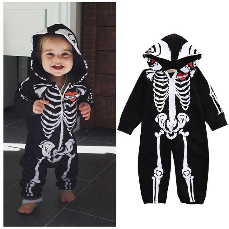 Negro Recién Nacido Ropa de Los Bebés de Los Mamelucos Trajes de Halloween Caliente Con Capucha de la Cremallera de Manga Larga Mono Bebé de Algodón Traje