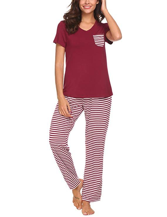 Hotouch Women Knit Short Sleeve Top Pants Printed 2 Piece Pajama Set Dark  Red L. Find this Pin and more on Womens Pajamas ... 3a27a24d3
