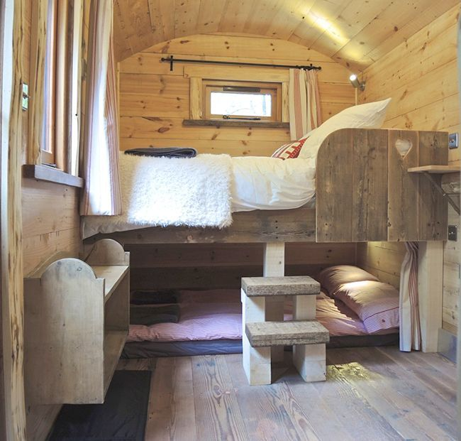 Cosy wooden bunk beds | Blackdown Shepherds Hut | The Relaxed Home