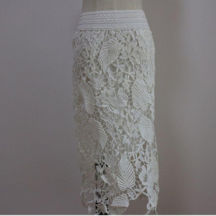 2016 лето женщины крючком вырез кружева юбки высокое талии тонкий шнурок юбка карандаш, Эластичный длинные кружева юбки, Размер макси S 3XL купить на AliExpress