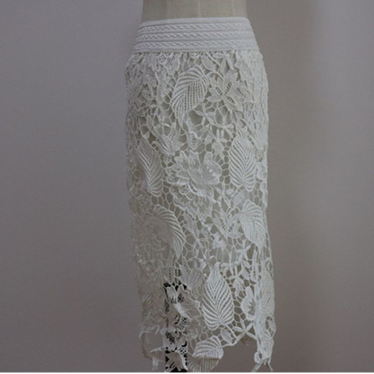 2016 Summer Women crochet cutout lace Skirts  high waist Slim lace pencil skirt, Elastic Long Lace Skirts,Maxi size S-3XL