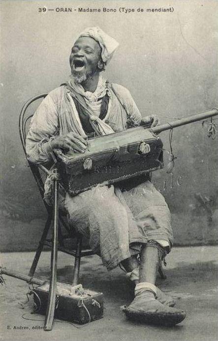 Moorish Gnawa musician of Old Morocco,circa 1900.