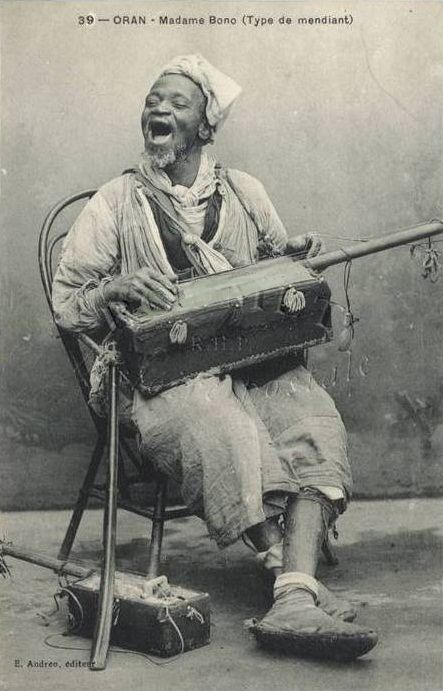 Moorish Gnawa musician of Old Morocco,circa 1900.