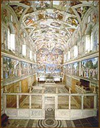 inside the Sistine Chapel, facing the altar