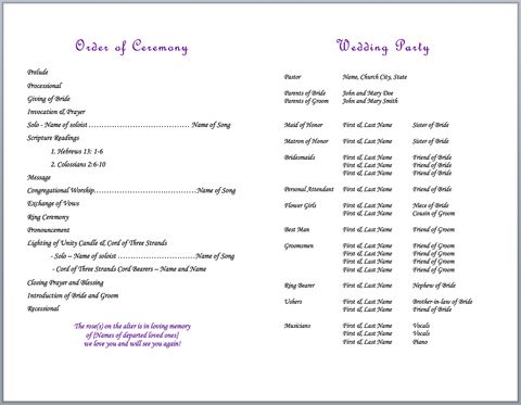 Cord Of Three Strands Bulletins Pack Of 50 Wedding Programs