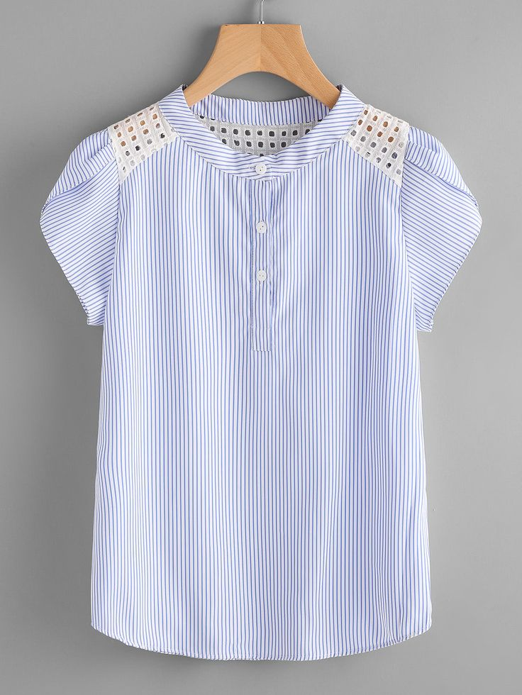 Shop Contrast Eyelet Embroidered Lace Petal Sleeve Blouse online. SheIn offers Contrast Eyelet Embroidered Lace Petal Sleeve Blouse & more to fit your fashionable needs.