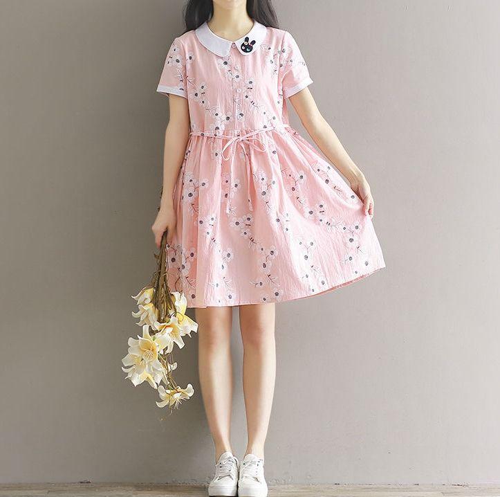 Clover Dream - Floral Print Short-Sleeve Collared Dress