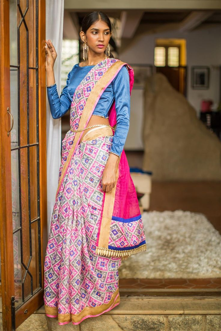 Pink Blue diamonds & mirrorwork with gold tissue border & Blue lycra t-shirt style blouse | House Of Blouse