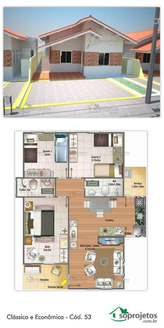Projeto de casa com 3 dormitórios, sendo uma suíte. Sala de estar e jantar conjugados. Cozinha com copa e área de serviço. Telhado em telha de barro.