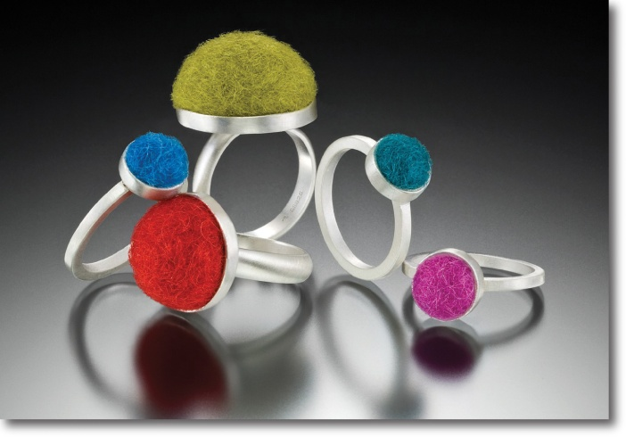 Silver and Wool Jewelry: Cara Romano  combines sterling silber with colorful, felted woold to create versatile jewelry.