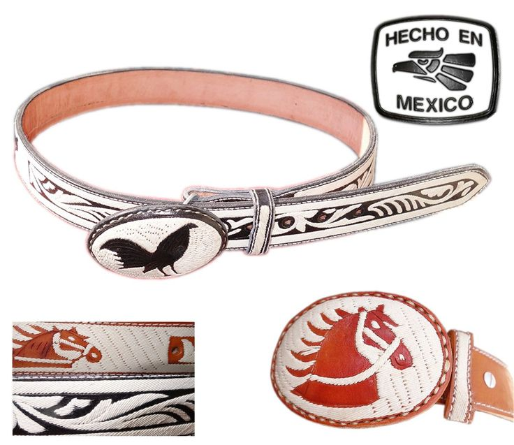 HANDMADE Embroidered CINTO PITEADO BELT MEXICAN MARIACHI CHARRO Crafted LEATHER