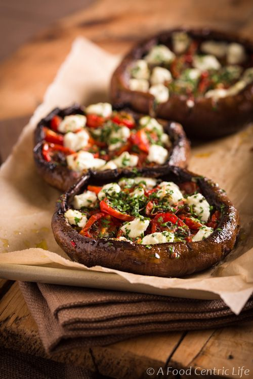 Stuffed Portobello Mushrooms With Roast Tomatoes and Goat Cheese: Stuffed Portobello, Olives Oil, Roasted Tomatoes, Food, Recipes, Stuffed Mushrooms, Portobello Mushrooms, Goats Cheese, Goat Cheese
