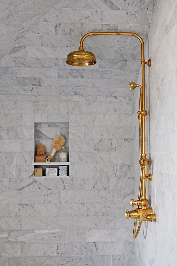 Dreamy Whites Master Bathroom Makeover With Unlacquered Brass Rohl Faucets Master Bathroom Makeover Rohl Faucet Shower Fixtures
