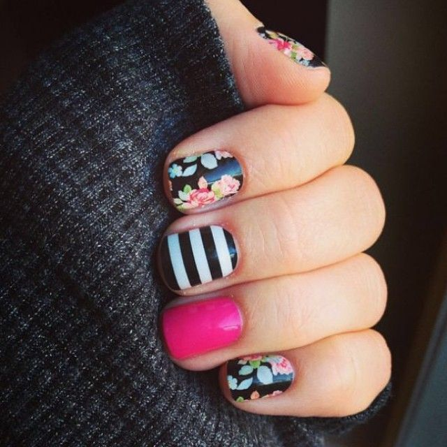 Sweet Nothing with Black & White Strips and Haute Pink. Get pretty nails...