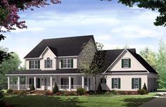 House Plan 59172 | Country Traditional Plan with 3000 Sq. Ft., 4 Bedrooms, 4 Bathrooms, 3 Car Garage at family home plans