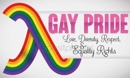 Lambda Symbol like a Rainbow Ribbon for Gay Pride