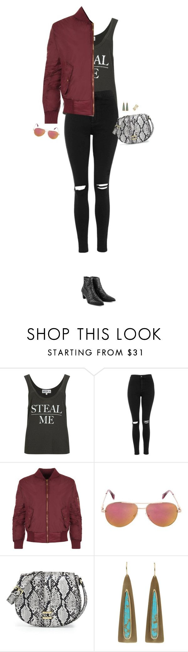 """""""How to Style a Maroon Bomber Jacket with Black Denim Jeans and Black Booties"""" by outfitsfortravel ❤ liked on Polyvore featuring Wildfox, Topshop, WearAll, Cutler and Gross, Neiman Marcus, Irene Neuwirth, NEXTE Jewelry, women's clothing, women and female"""