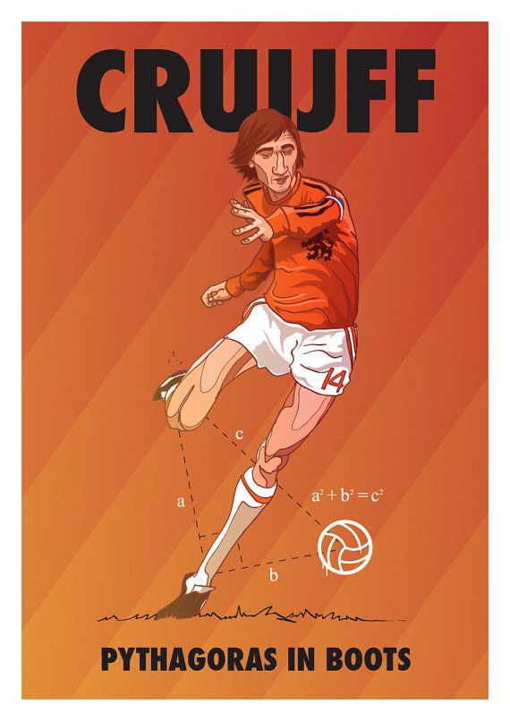Johan Cruyff - Pythagoras in Boots - by Dan Leydon Johan Cruyff, born 25 April 1947, Dutch international attacking midfielder or forward (1966–1977), Ajax (1964-1973), FC Barcelona (1973-1978), Los Angeles Aztecs (1979-1980), Washington Diplomats (1980-1981), Levante (1981), Ajax (1981–1983), Feyenoord (1983-1984).