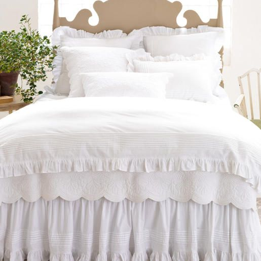 Pine Cone Hill | Louisa White Bed Skirt | A dressed-up version of a cotton bed skirt, with appliqued strips and embroidered detailing at the hem. Gathered; split corners.