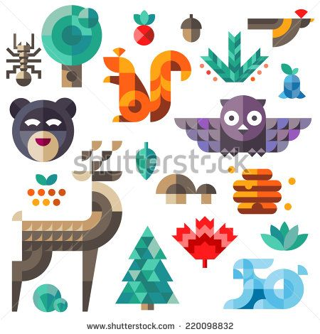 Set of cute flat forest animals, geometric proportions. Forest animals contain owl, deer, squirrel, rabbit. Illustration.