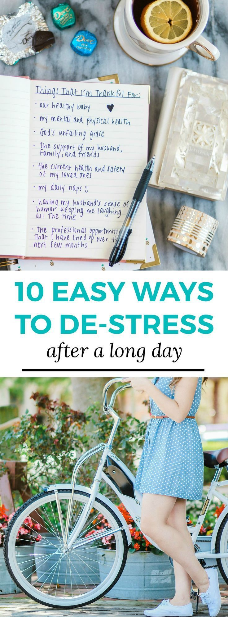 10 easy ways to de-stress after a long day - including any form of exercise, like a leisurely bike ride in the park and unwinding with chocolate and tea while writing in your gratitude journal! #unwindwithdove sponsored by @DOVEChocolateUS | Dove chocolate, stress relief, how to relieve stress, how to calm down, gold candle, stress relief tips, cute bike, white bicycle, white bike, polka dot dress, spring flowers