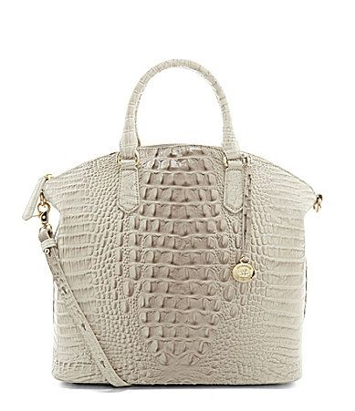 Brahmin Melbourne Collection Large Duxbury Crocodile Embossed Dome Satchel