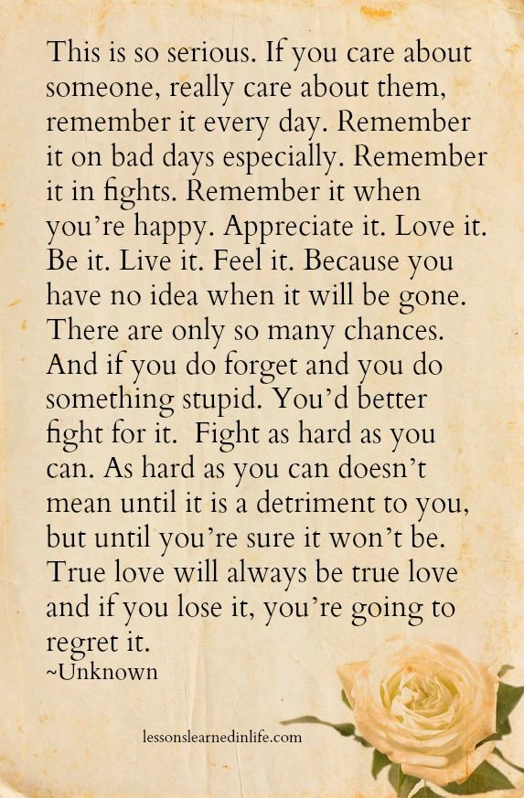 Lessons Learned in Life | If you care about someone, remember it every day.