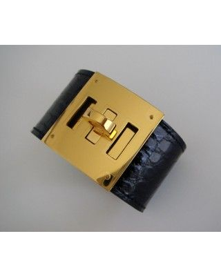 Discount Hermes Kelly Dog Bracelet Black Crocodile Alligator Gold Ghw Auth,wholesale,online outlet