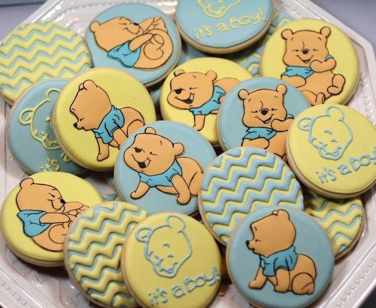 Winnie the Pooh Cookies Baby Shower Cookies Baby Winnie the Pooh Baby Boy Chevron Pattern Cookies Character Cookies