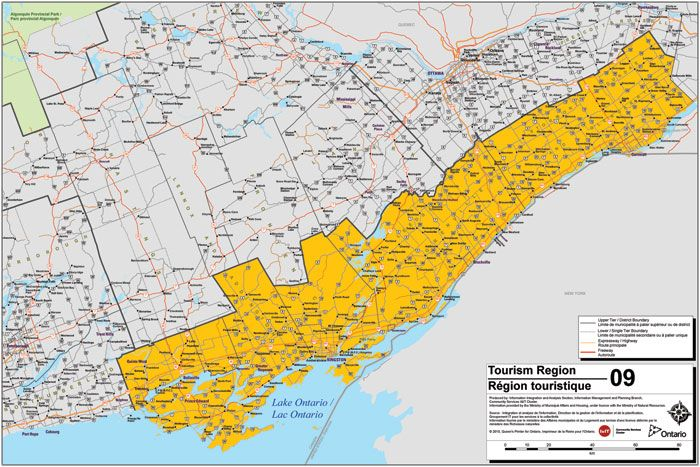 Map of South Eastern Ontario