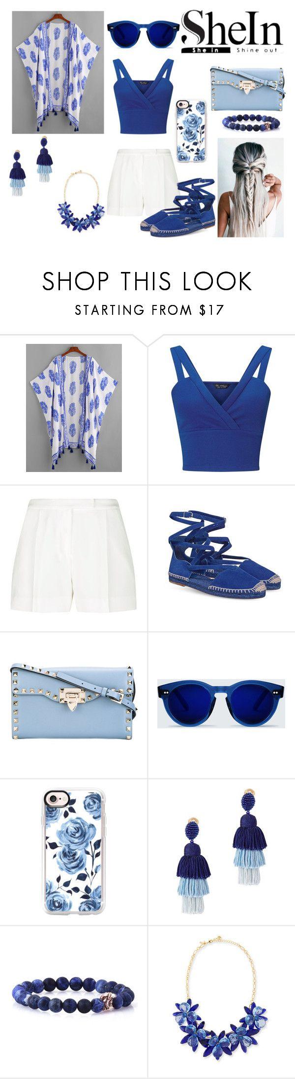 """bleu ocean"" by sarashic-7 ❤ liked on Polyvore featuring Miss Selfridge, Elie Saab, Valentino, Casetify, Oscar de la Renta and Kate Spade"