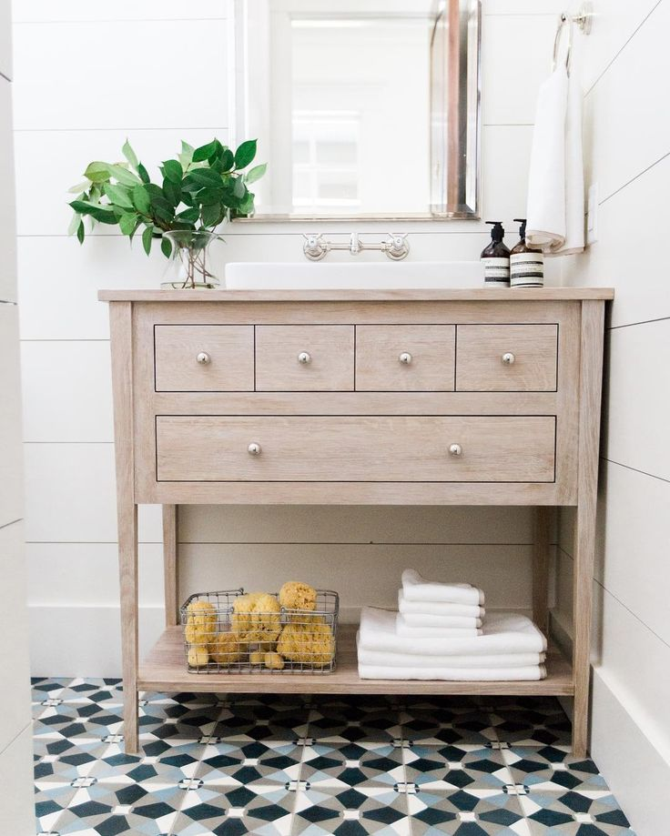 Patterned tile + shiplap || www.studio-mcgee.com