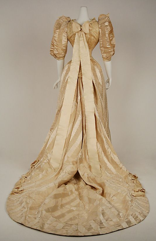 Wedding dress Date: 1892 Culture: American Medium: silk, cotton Back