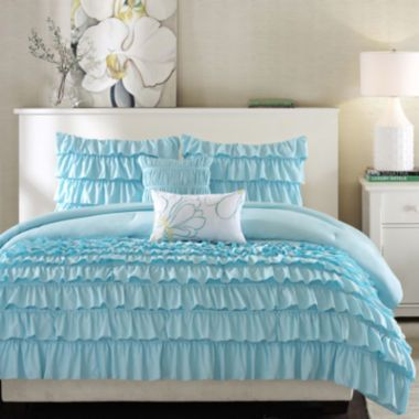 "<p>Cozy and warm! Waterfall ruffles give the Kacie comforter set layers of frilly fun and bring personality to your room.</p><div style=""page-break-after: always;""><span style=""display: none;"">"