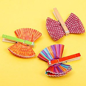 Clothespin Butterflies: Paint the clothespin and let it dry. Fold two cupcake liners into quarters, then clip the clothespin over them. Add googly eyes.