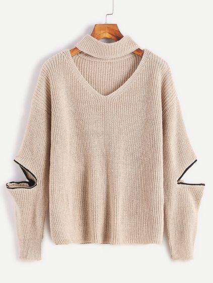 Light Khaki Choker Neck Sweater With Sleeve Zip Detail