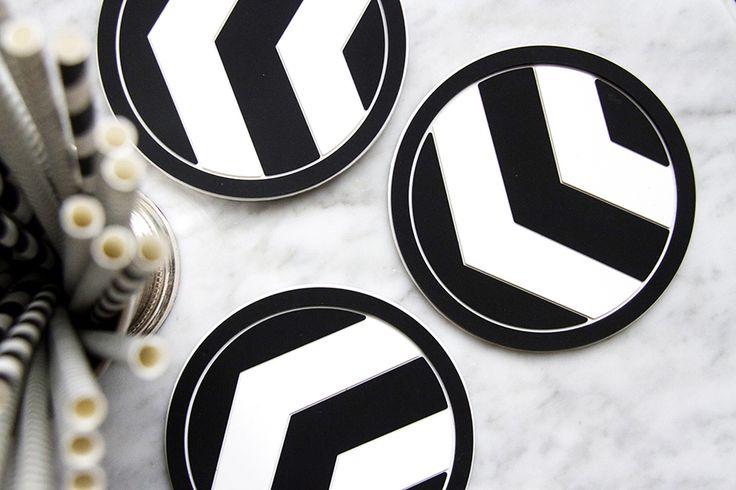 Minimalist dream... Marble and Vessel Coasters Black Chevron coaster