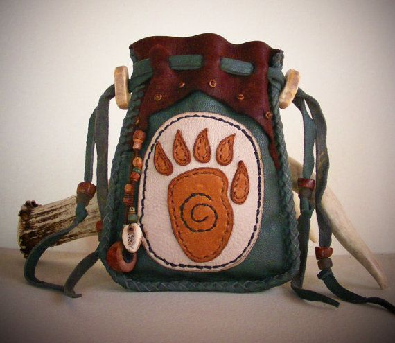 BEAR deerskin leather MEDICINE BAG, spirit pouch, Tarot Bag with Elk antler, Elk bone, Navajo Ghost beads, antique trade beads
