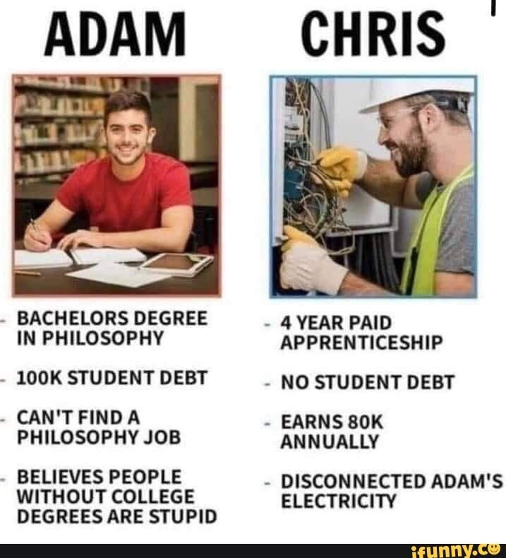 Bachelors Degree In Philosophy 100k Student Debt Can T Find A Philosophy Job Believes People Without College Degrees Are Stupid 4 Year Paid Apprenticeship No St Student Debt Philosophy Apprenticeship