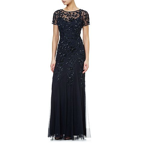 Buy Adrianna Papell Floral Beaded Gown, Twilight Online at johnlewis.com